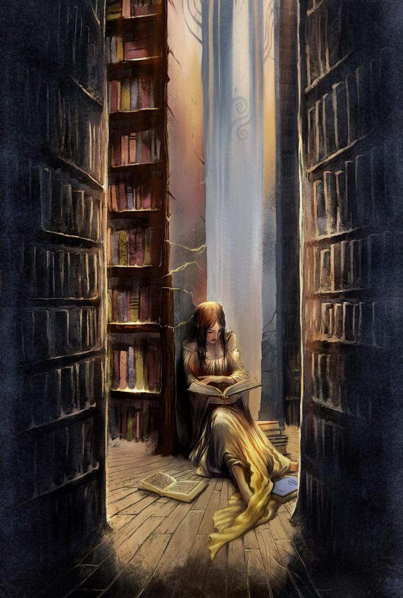 Woman reading a book in an old musty library (illustration)