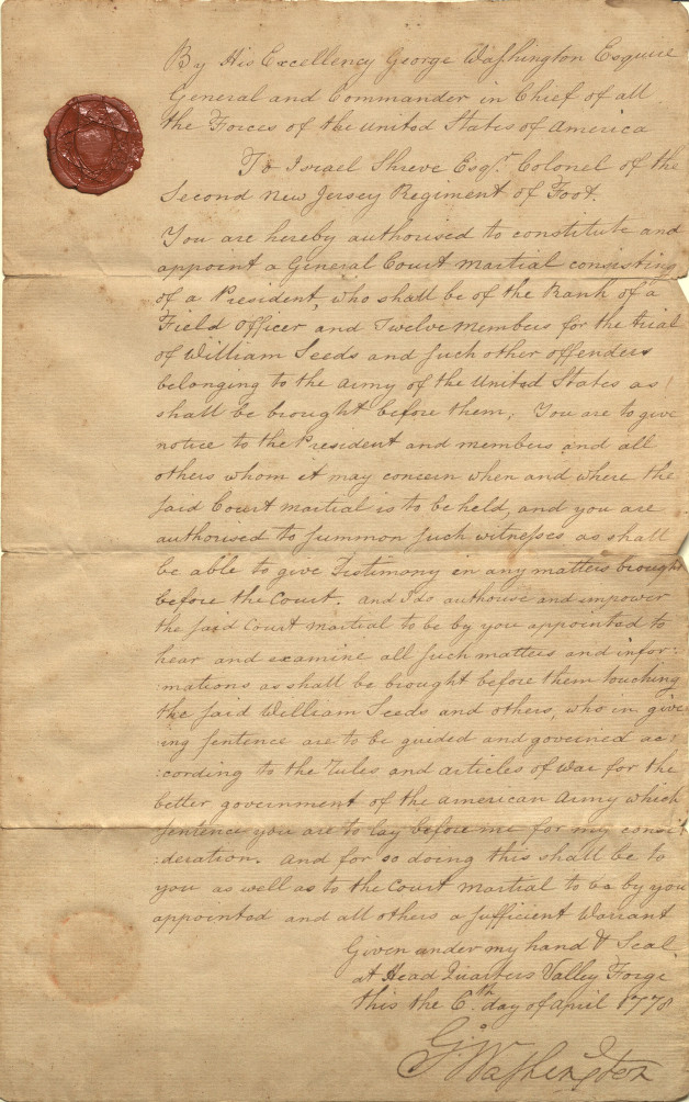 Letter written by General George Washington authorizing court martial proceedings for an American soldier.