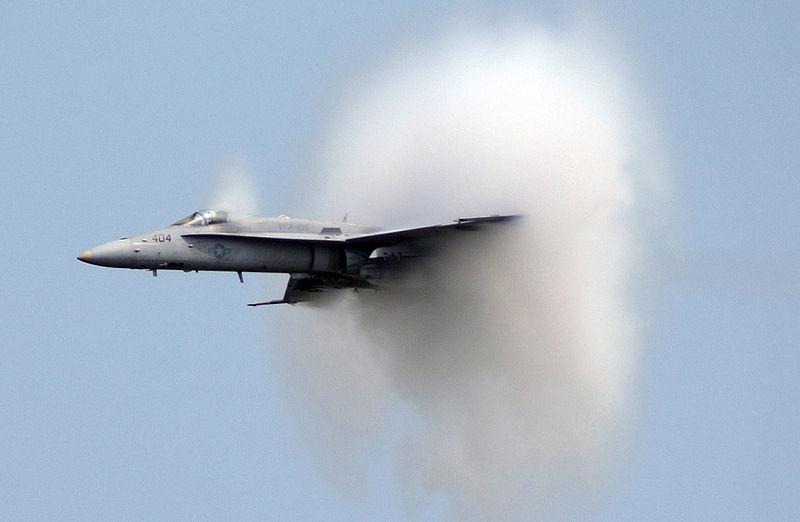 U.S. Navy F/A-18C Hornet breaks the sound barrier