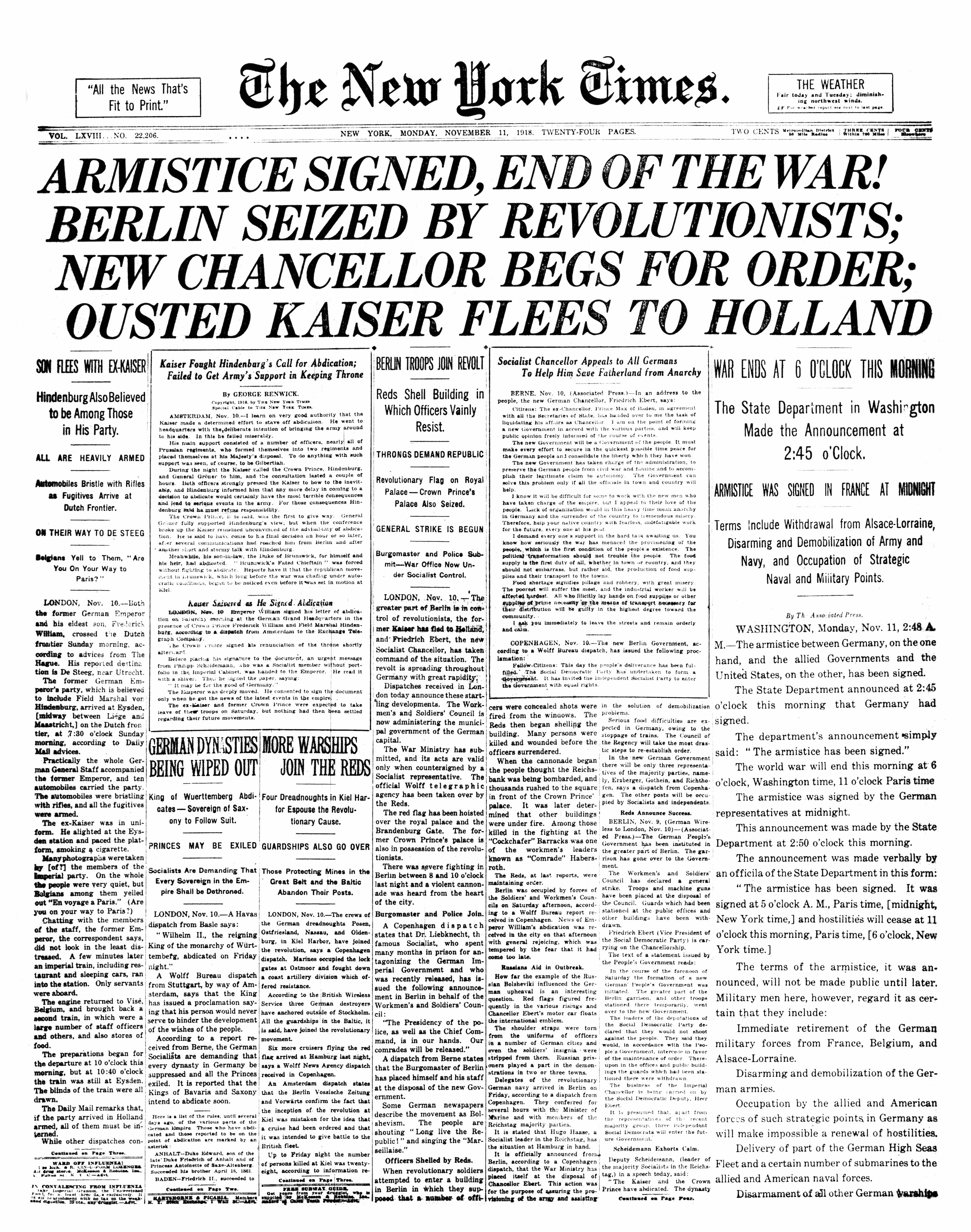 New York Times front page, 11 November 1918.
