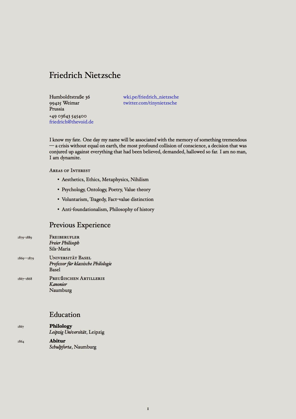 Imagined CV for Friedrich Nietzsche