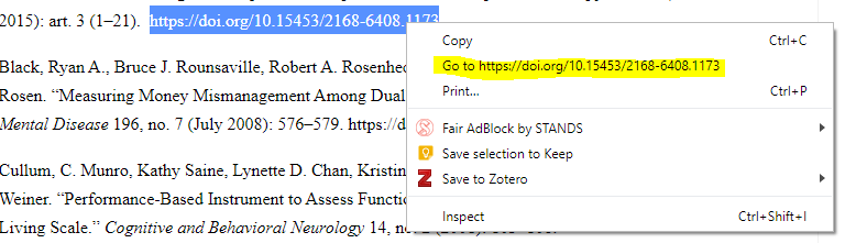 Select entire URL > right-click > left-click