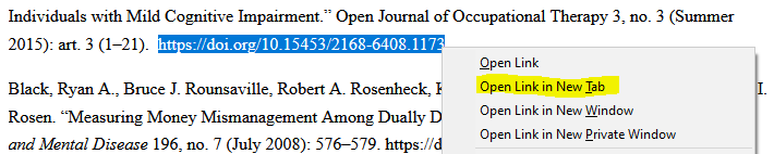 Select the entire URL > right-click > left-click