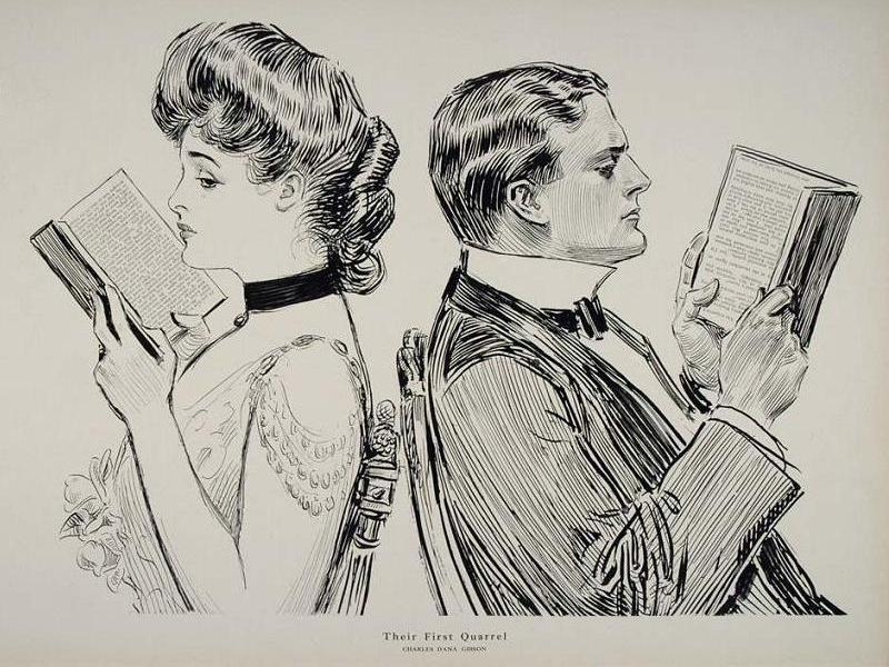 Illustration of a woman and man reading with their backs to each other