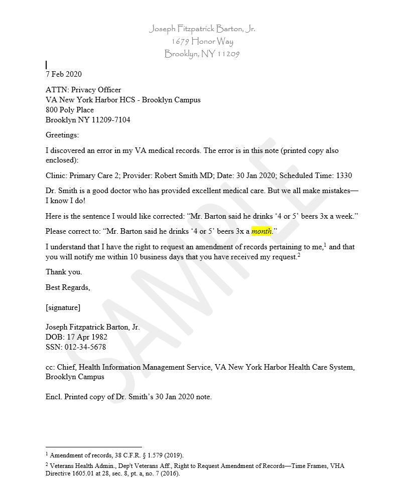 Sample letter to correct VA Medical Records